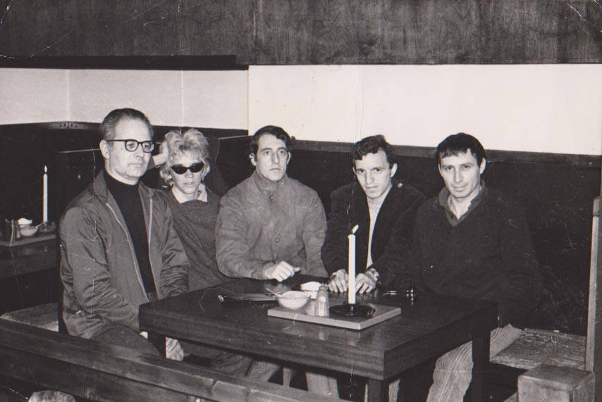 "Sid & Pat Parker, Jean-Pierre Schweitzer, Bill and Dave Miller. Photo is of the founding meeting of ""Les Amis de Jules Bonnot"" at the The Process Coffee House Mayfair."