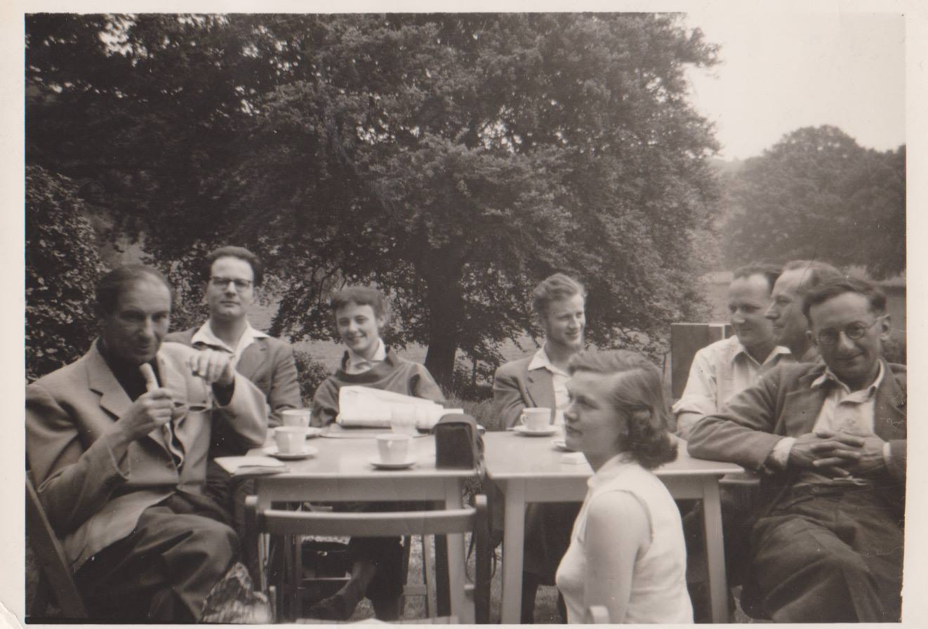 "Libertarian group called the London ""Bridge Circle"" outing 1956. Alfred Reynolds, Sid Parker, Margaret Hayhurst. Danish Students, Joerg, Bill Croft, ? Valarie Croft."